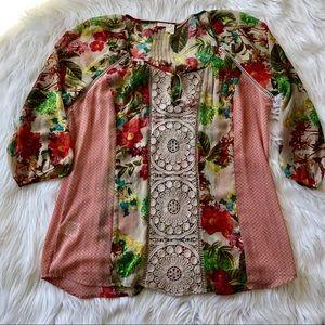 Anthropologie Meadow Rue crochet floral tunic sz L